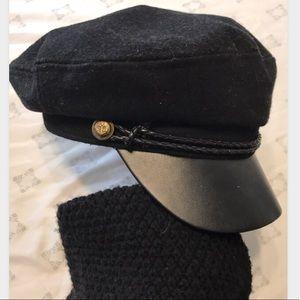 BLACK LEATHER HAT